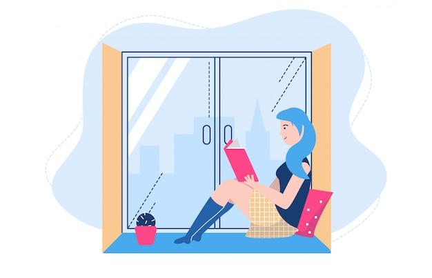 La lettura della gente posa l'illustrazione, carattere della studentessa del fumetto che studia e che prepara per l'esame su bianco