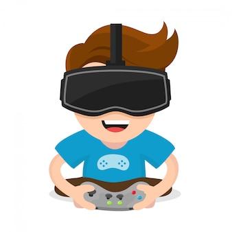 La leva di comando felice allegra della tenuta del giovane del ragazzo gioca il video gioco in vetri del vr.