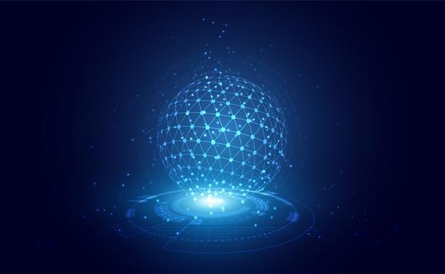 La linea astratta della tecnologia il triangolo e l'uomo d'affari basso poli tengono il wireframe moderno futuro poligonale disponibile del telefono su ciao fondo futuro blu di tecnologia. per modello, web design o presentazione.
