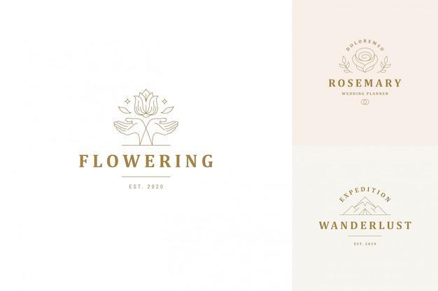 La linea di vettore i modelli di progettazione degli emblemi del logos ha messo - le mani femminili di gesto e le illustrazioni rosa del fiore