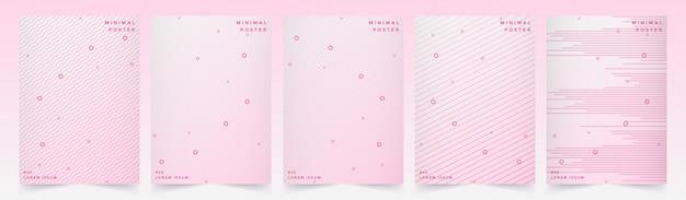 La linea geometrica astratta fondo ha messo con progettazione di rosa di stile.