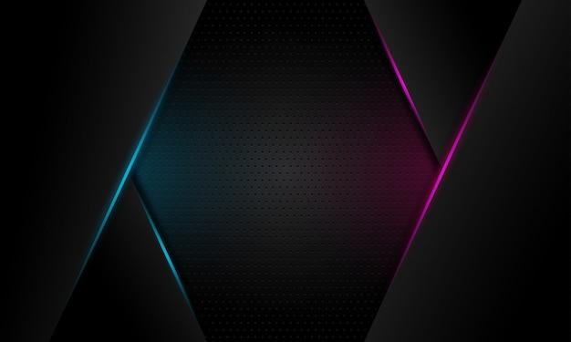 La linea leggera blu e viola astratta taglia su fondo futuristico moderno grigio scuro di progettazione dello spazio