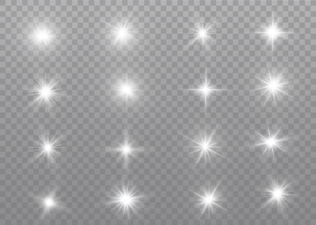 La luce bianca incandescente esplode su un trasparente