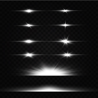La luce bianca incandescente esplode su uno sfondo trasparente. con raggio. sole splendente trasparente, flash luminoso. speciale effetto luce riflesso lente.