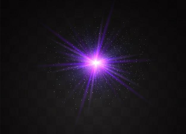 La luce blu incandescente esplode su uno sfondo trasparente. particelle di polvere magica scintillante. stella luminosa. sole splendente trasparente, lampo luminoso. scintilla. per centrare un flash luminoso.