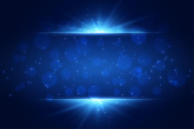 La luce blu scintilla fondo con copyspace