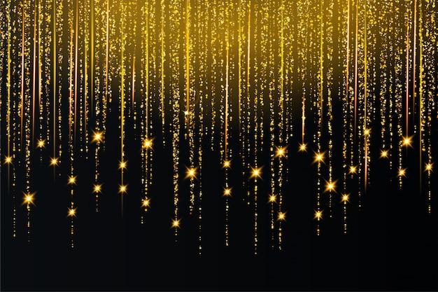 La luce dorata scintilla priorità bassa di burst della stella