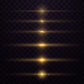 La luce gialla incandescente esplode su uno sfondo trasparente. scintillanti particelle di polvere magica. stella luminosa. sole splendente trasparente, flash luminoso. brilla. per centrare un lampo luminoso.