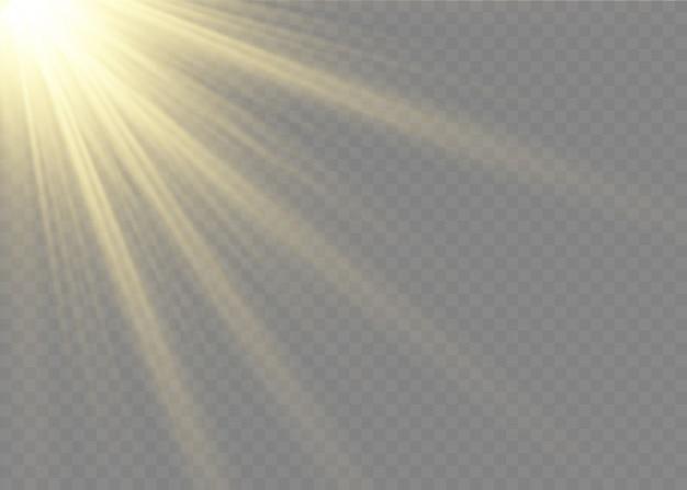 La luce incandescente esplode su uno sfondo trasparente. stella luminosa. sole splendente trasparente.