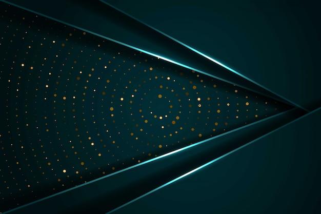 La luce verde scuro astratta si sovrappone agli strati con il fondo futuristico moderno del cerchio