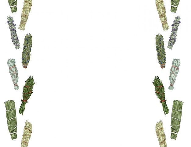 La macchia salvia attacca la lettera disegnata a mano. ornamenti di fasci di erbe