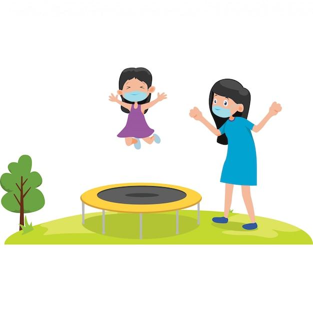La madre e sua figlia stanno giocando insieme l'illustrazione del trampolino
