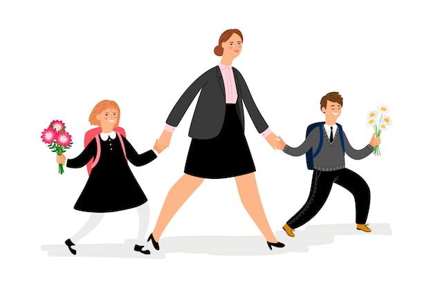 La mamma conduce i bambini a scuola