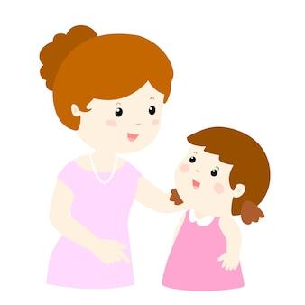 La mamma parla con dolcezza a sua figlia