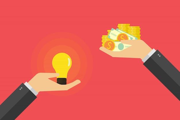 La mano che tiene la lampadina e l'altra mano offre l'illustrazione dei soldi