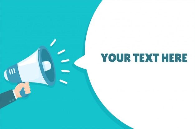 La mano che tiene un megafono grida rumorosamente in bolle per il tuo messaggio.