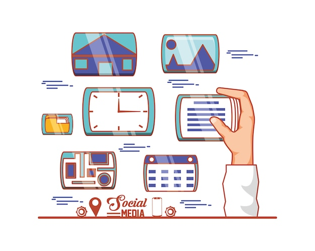 La mano con le icone stabilite di media sociali vector la progettazione dell'illustrazione