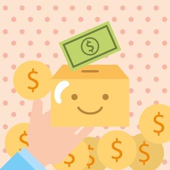 La mano con le monete dei soldi della scatola di cartone donano la carità