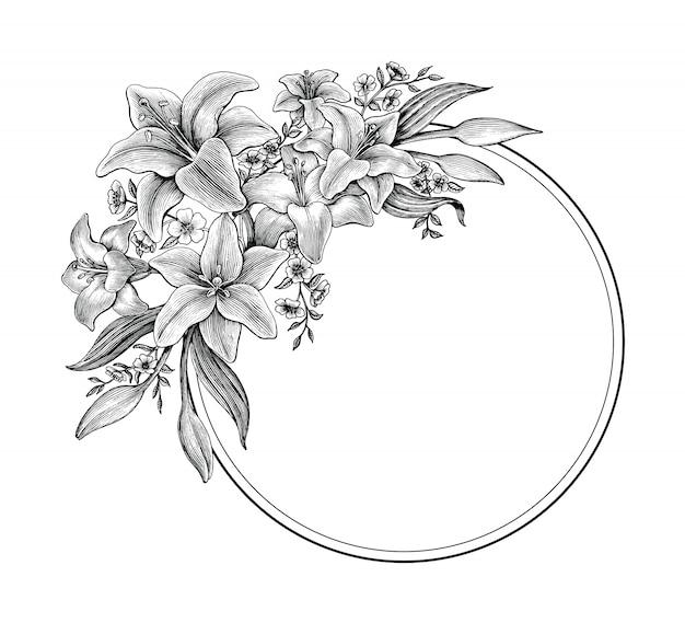 La mano dei fiori del giglio che disegna l'annata in bianco e nero per fa la cartolina d'auguri