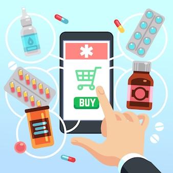 La mano dell'acquirente seleziona e acquista droghe e farmaci sullo schermo del telefono cellulare
