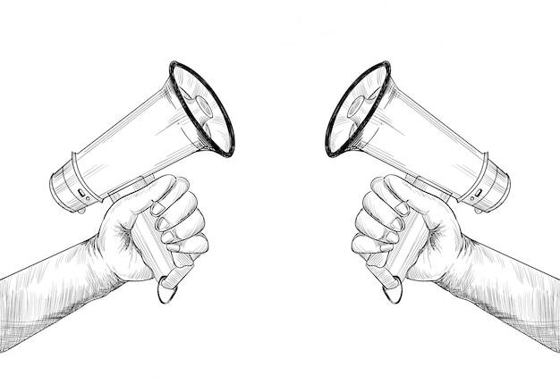 La mano di concetto di annuncio tiene il disegno di schizzo del megafono