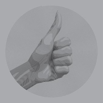La mano di stile di disegno a spirale dà il pollice per come