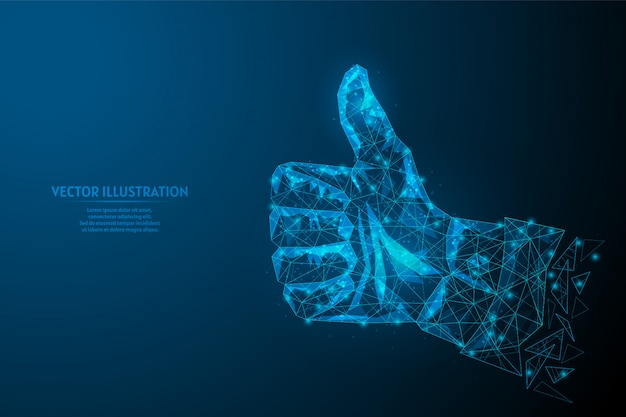 La mano di un uomo d'affari che mostra i pollici su si chiude su. avvio di business di concetto, educazione, leader, idea. medicina e tecnologia innovative. illustrazione di modello poli wireframe basso 3d.