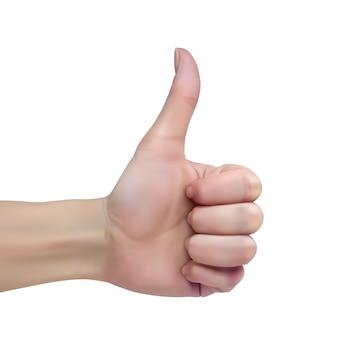 La mano femminile su una priorità bassa bianca mostra il pollice sul segno