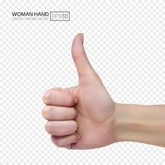 La mano femminile su uno sfondo trasparente mostra il pollice sul segno