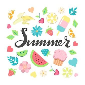 La mano ha abbozzato il manifesto dell'iscrizione di tipografia dell'estate e l'insieme di clipart degli elementi dell'estate.