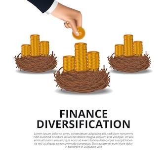 La mano ha messo la moneta d'oro nel cestino del nido dell'uccello per diversificazione finanziaria