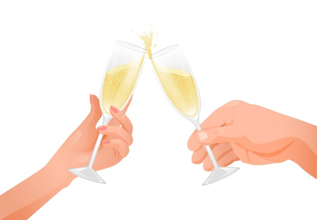 La mano maschio e femmina tiene i bicchieri di champagne. illustrazione di un umore festivo