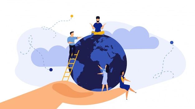 La mano salva il concetto dell'ambiente dell'ambiente dell'illustrazione del globo della terra.