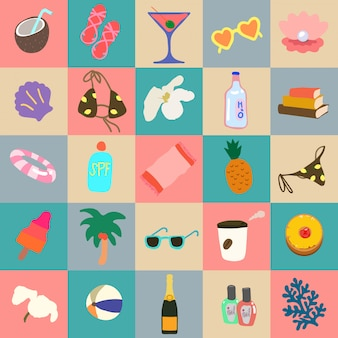 La mano sveglia disegna gli oggetti di vacanze estive