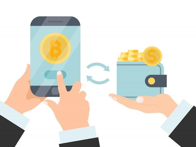 La mano tiene il telefono e il portafoglio con denaro e bitcoin. tecnologia di criptovaluta. scambio di bitcoin per contanti