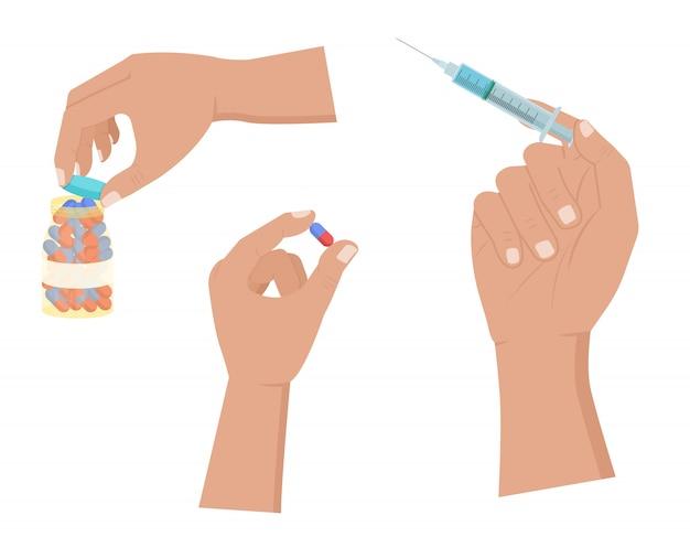 La mano tiene la pillola e la siringa, icona aperta della bottiglia di pillole messa su bianco