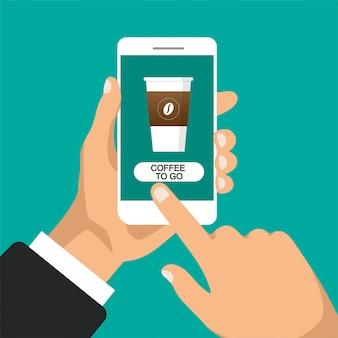 La mano tiene lo smartphone e ordina il caffè online. bicchiere di caffè sullo schermo del telefono. illustrazione piatta. isolato.
