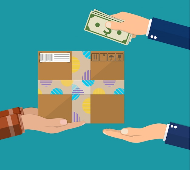 La mano umana detiene denaro e paga per il pacchetto