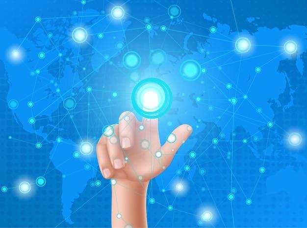 La mano umana preme il pulsante sul display a testa in su