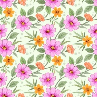 La mano variopinta disegna il modello senza cuciture dei fiori per la carta da parati del tessuto del tessuto.