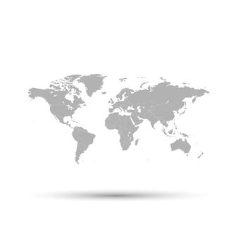 La mappa grigia del mondo è raffigurata su uno sfondo bianco.