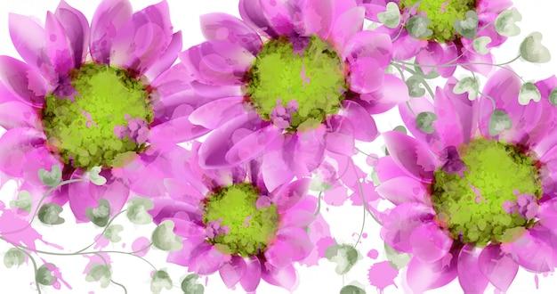 La margherita della primavera fiorisce l'acquerello del fondo