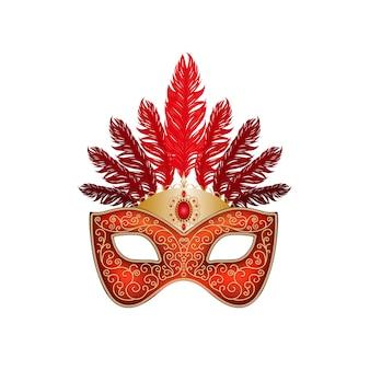 La maschera di carnevale rossa con piume