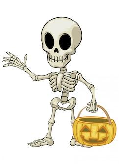 La mascotte del fumetto di scheletro tiene la zucca di halloween