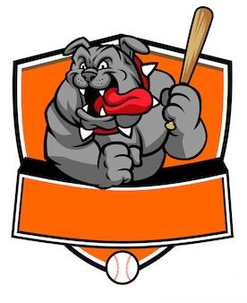 La mascotte di baseball del bulldog tiene la mazza da baseball