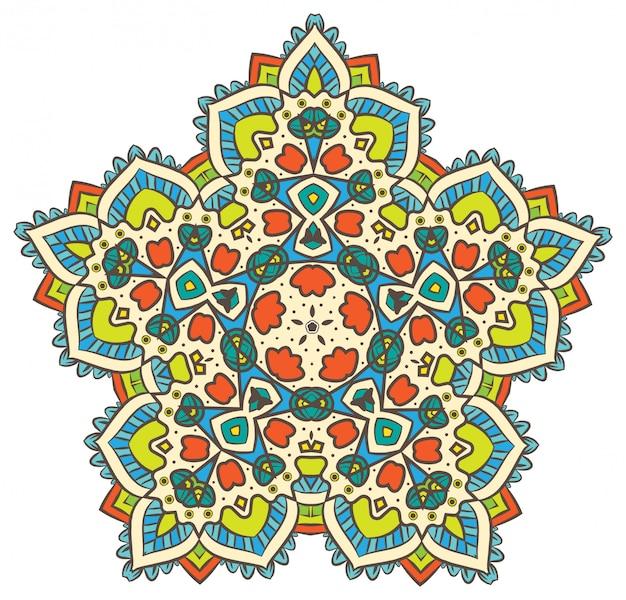 La meditazione vettoriale mandala di frattali etnici assomiglia a fiocco di neve o maya aztec