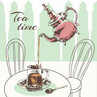 La menta di vetro decorata marocchina lascia il tè con acqua bollente in illustrazione d'argento di vettore di schizzo della teiera