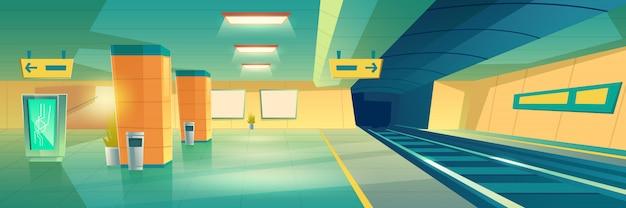 La metropolitana moderna, la stazione ferroviaria sotterranea svuota l'interno con l'insegna o l'insegna illuminata di pubblicità