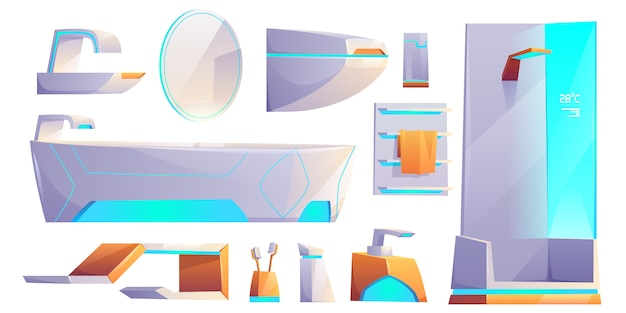 La mobilia e la roba futuristiche del bagno hanno impostato isolato. vasca da bagno, cabina doccia, lavabo, porta asciugamani, water, specchio, spazzolini da denti