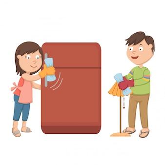 La moglie sta pulendo il frigo